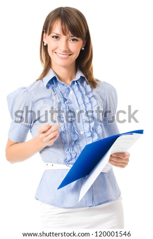Happy smiling cheerful young business woman with documents, isolated on white background - stock photo