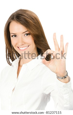 Happy smiling cheerful young business woman with okay gesture, isolated on white background