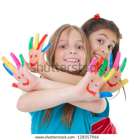 happy smiling children playing with paint - stock photo