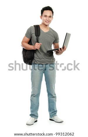 Happy smiling college student with laptop isolated on white background