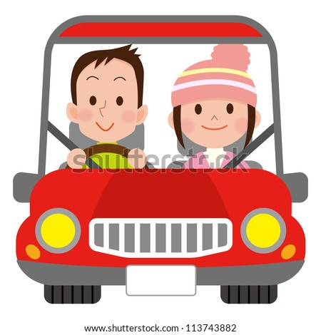 Happy smiling couple in a car - stock photo
