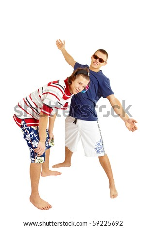 Happy smiling couple in beach clothes. Isolated over white - stock photo