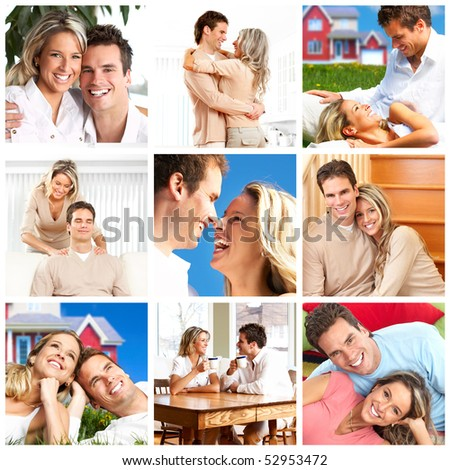 Happy smiling couple in love at home - stock photo