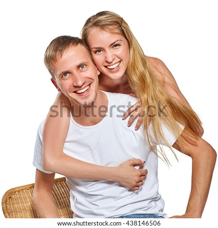 Happy smiling couple in love. Isolated on white background.