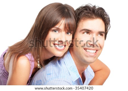 Happy smiling couple in love. Isolated over white background