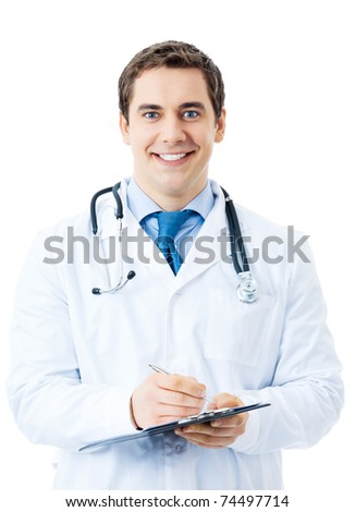 Happy smiling doctor writing on clipboard, isolated on white background