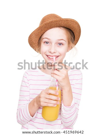 Happy smiling eight years old pretty blond Caucasian child girl in a hat with a bottle of fruit juice drink (isolated on white background). - stock photo