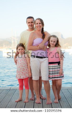 happy smiling family group on summer vacation. - stock photo
