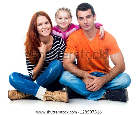 happy smiling family isolated over white background - stock photo