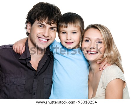 Happy smiling family with preschooler son - on white background