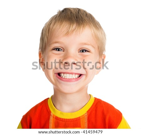 happy smiling five-year-old boy isolated on white background - stock photo