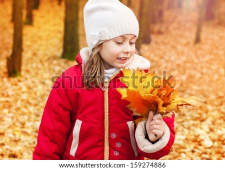 Happy smiling five years old caucasian child girl collecting leaves outdoor in an autumn park during a walk - stock photo