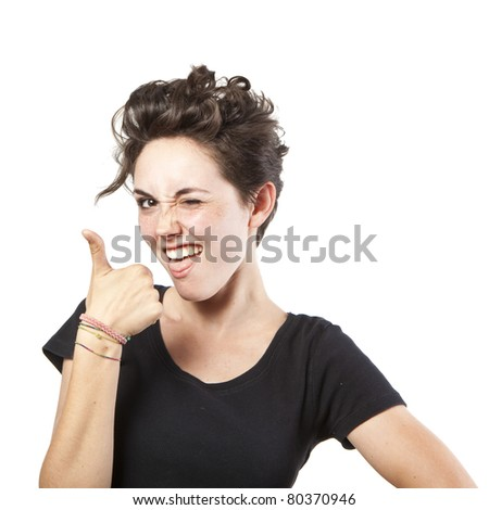 Happy smiling girl with thumbs up gesture, isolated on white background - stock photo