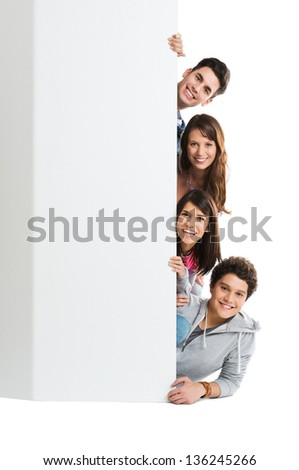 Happy Smiling Group Of Person Isolated Showing Blank Placard Board - stock photo