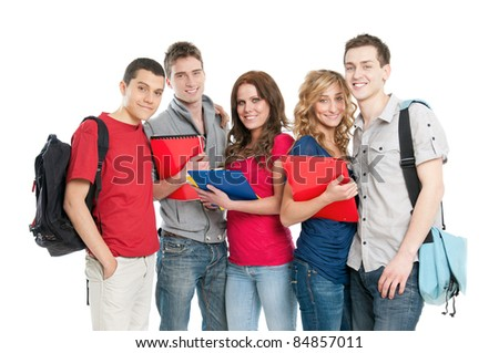 Happy smiling group of young students isolated on white background - stock photo