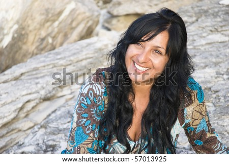 happy smiling indian girl. - stock photo