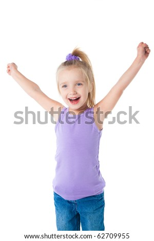 happy smiling little girl in purple t-shirt isolated - stock photo