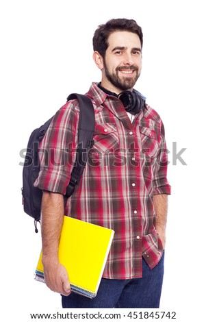 Happy smiling male student on white background