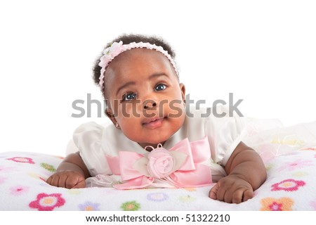 Happy Smiling 3-month Old Baby Girl Portrait on White Background - stock photo