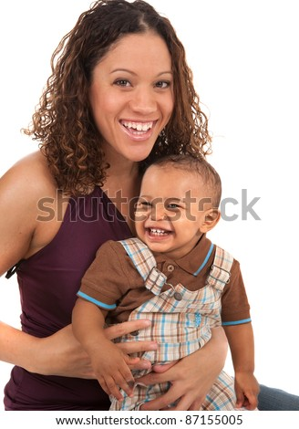 Happy Smiling Mother and Baby Boy on White Background - stock photo