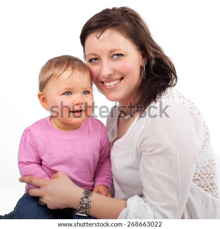 Happy smiling mother and child isolated on white