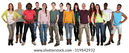Happy smiling multi ethnic group of young people isolated on a white background - stock photo
