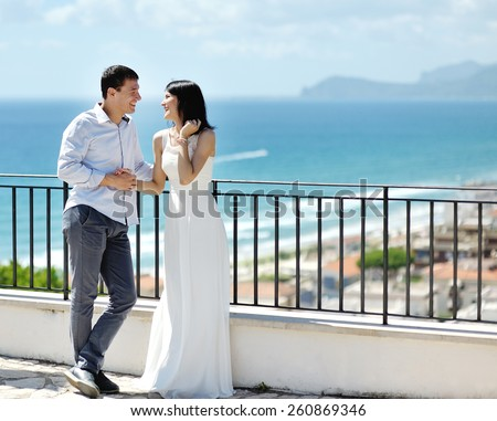 happy smiling newlywed couple in wedding day in Italy - stock photo