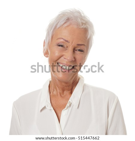 stock photo happy smiling older lady in her sixties with trendy white short haircut 515447662 How you can find The Best Online Dating Service Meant for International daters