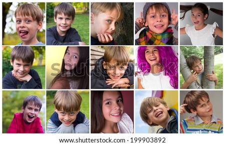 happy, smiling portraits of cute children - stock photo