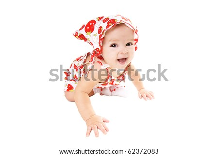 Happy smiling pretty baby girl isolated on white background - stock photo