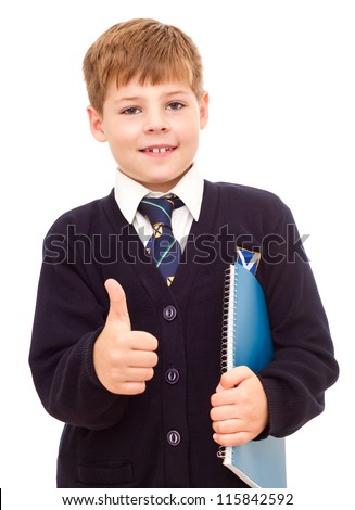 Happy smiling school boy gesturing thumb up hand sign OK. Isolated on white background. - stock photo