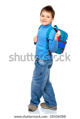Happy smiling schoolboy. Isolated over white background - stock photo