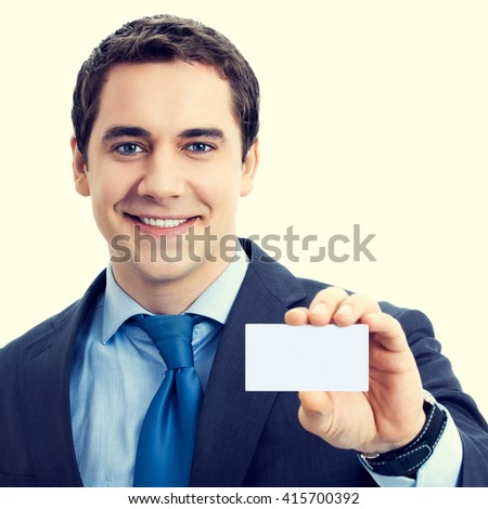 Happy smiling senior businessman showing blank business card with blank empty copyspace area for sign or slogan text. Marketing and advertising concept. - stock photo