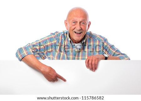 happy smiling senior man holds a blank board isolated on white - stock photo