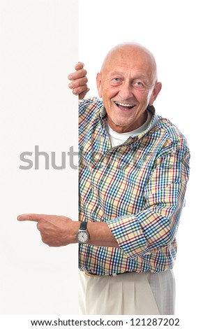happy smiling senior man holds a blank board isolated on white