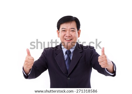 happy, smiling senior manager, middle aged CEO giving thumb up gesture - stock photo