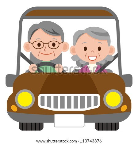 Happy smiling senior married couple in a car - stock photo