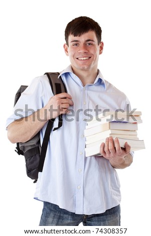 Happy smiling student with rucksack and books. Isolated on white background. - stock photo
