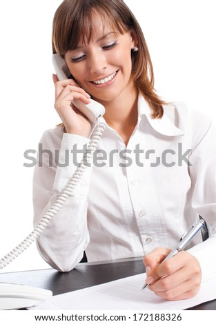 Happy smiling successful business woman with phone, isolated over white background - stock photo
