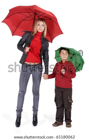 happy smiling woman and child  under their  umbrellas