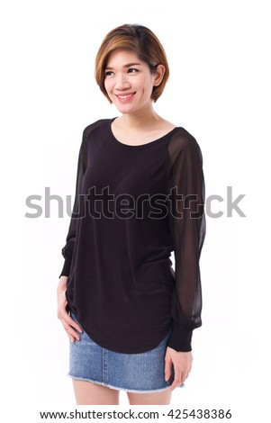 happy, smiling woman looking up at blank space, studio shot of asian woman model.
