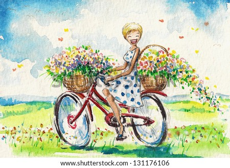 Happy,smiling woman on bicycle with baskets full of flowers. Watercolor illustration. - stock photo