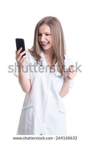 Happy smiling woman or female medic reading from the smartphone
