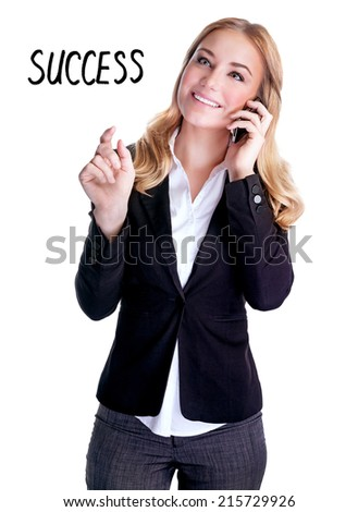 Happy smiling woman talking on phone, making deal, isolated on white background with text space, successful business people concept