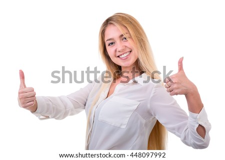 Happy smiling woman with thumbs up gesture, isolated over white background - stock photo