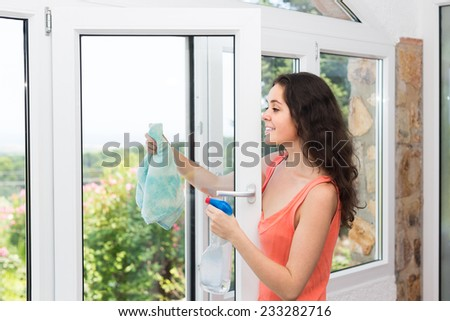 Happy smiling young brunette cleaning windows using atomizer indoor  - stock photo