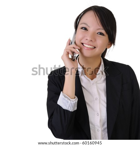Happy smiling young business woman with cellphone, closeup portrait with copyspace in white. - stock photo