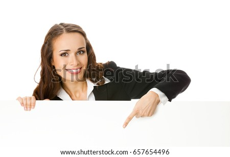 Happy smiling young businesswoman showing blank signboard with copyspace area for text or advertise slogan, isolated against white background. Success in business concept.