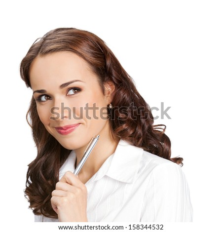 Happy smiling young businesswoman with pen, isolated over white background - stock photo