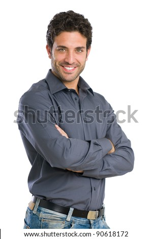 Happy smiling young man looking at camera with satisfaction isolated on white background - stock photo